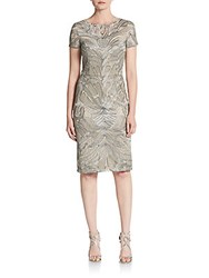 David Meister Metallic Embroidered Cocktail Dress Silver Nude