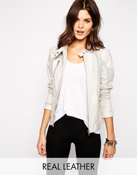 Y.A.S Resist Leather Perforated Jacket Ivory