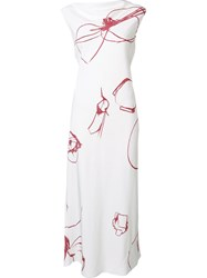 Protagonist Abstract Print Dress White