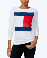 Tommy Hilfiger Flag Logo Sweatshirt Only At Macy's Bright White