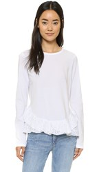 Clu Long Sleeve Eyelet Ruffle Top White