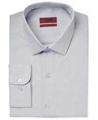 Alfani Men's Fitted Performance Zig Zag Dress Shirt Only At Macy's Silver
