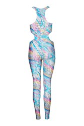 Holographic Croc Cut Out Catsuit By Jaded London Multi