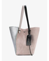 Jimmy Choo Twist Suede And Leather Tote Silver Rose Grey Beige Metallic Silver Black