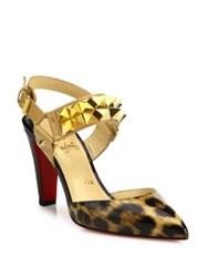 Christian Louboutin Studded Leopard Patent Leather Slingback Pumps Brown Multi