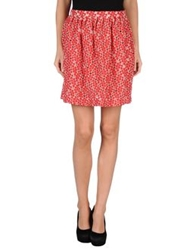 Rose' A Pois Knee Length Skirts Red