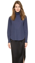 Cedric Charlier Turtleneck Top Blue White