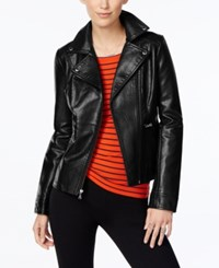 Guess Asymmetrical Zip Faux Leather Moto Jacket Black