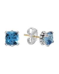 Lagos Sterling Silver Prism Blue Topaz Stud Earrings Blue Silver