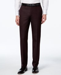 Calvin Klein Men's Burgundy Flat Front Slim Fit Dress Pants