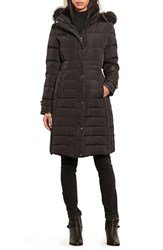 Lauren Ralph Lauren Women's Quilted Three Quarter Coat With Faux Fur Trim Black