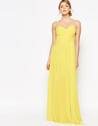 Forever Unique Sweetheart Plunge Maxi Dress With Wrap Skirt Lemon Yellow