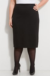 Plus Size Women's Vince Camuto Ponte Knit Skirt Rich Black