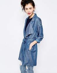Monki Denim Trench Coat Lightblue