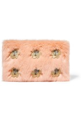 Shrimps Meadow Embroidered Faux Fur Clutch