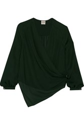 Haute Hippie Asymmetric Silk Shirt Forest Green