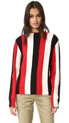 Msgm Vertical Stripe Crew Sweater Red White Black