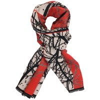 Chesca Ruby Striking Forest Pattern Scarf Red Black