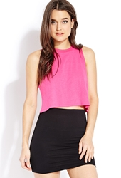 Forever 21 Favorite Cropped Muscle Tee Hot Pink