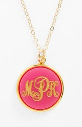 Women's Moon And Lola 'Vineyard' Personalized Monogram Pendant Necklace Hot Pink
