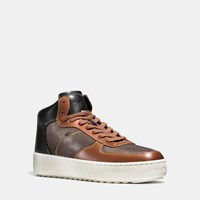 Coach Patchwork C210 High Top Sneaker Mahogany Dk Saddle Black