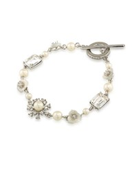 Carolee 21 Club 5Mm 4Mm Mother Of Pearl And Faux Pearl Flex Bracelet White