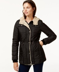 Levi's Hooded Sherpa Lined Puffer Coat Black
