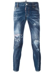 Dsquared2 Sexy Twist Distressed Jeans Blue