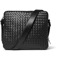 Bottega Veneta Intrecciato Leather Messenger Bag Black