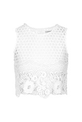 Glamorous Floral Laser Cut Crop Top By Petite White