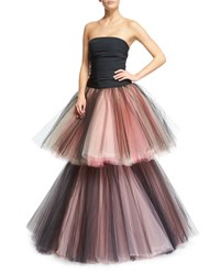 Oscar De La Renta Strapless Ruched Two Tiered Tulle Gown Black Pink