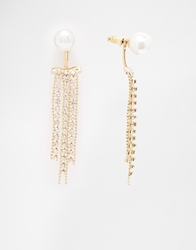 Love Rocks Faux Pearl Chandelier Earrings Gold