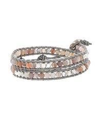 Chan Luu Holiday Swarovski Crystal Agate Leather And Sterling Silver Bracelet