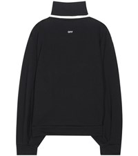 Off White Cotton Jersey Sweater Black
