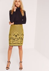 Missguided Lace Midi Skirt Chartreuse Green