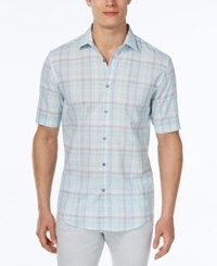 Alfani Men's Big And Tall Classic Fit Plaid Short Sleeve Shirt Only At Macy's Cool Mist