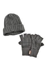Muk Luks Cable Knit Cuff Cap And Fingerless Gloves Set Gray