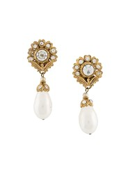 Chanel Vintage Flower Head Drop Clip On Earrings White