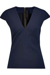 Roland Mouret Cyrus Stretch Jacquard Top Midnight Blue