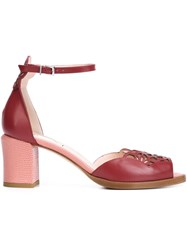 Fendi Laser Cut Sandals Red