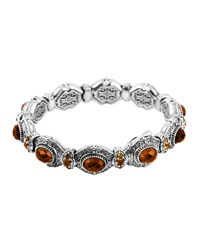 Konstantino Sterling Silver Faceted Cognac And Citrine Bangle