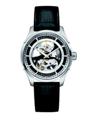 Hamilton Jazzmaster Viewmatic Skeleton Gent Auto Stainless Steel And Embossed Leather Strap Watch Black Silver