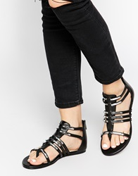 Supertrash Celina Gladiator Flat Sandals Black