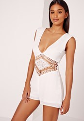 Missguided Chiffon Lace Trim Waist Detail Playsuit White White