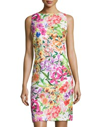 Chetta B Floral Sleeveless Sheath Dress Multi