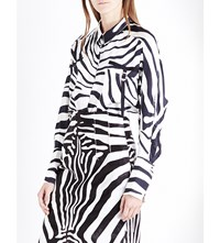 Topshop Unique Zebra Print Silk Satin Shirt