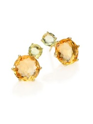 Ippolita Lollipop Multicolor Citrine And 18K Yellow Gold Two Stone Post Earrings Gold Multi