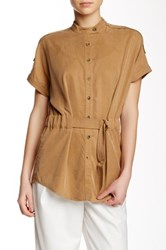 Shades Of Grey Belted Band Collar Tunic Brown