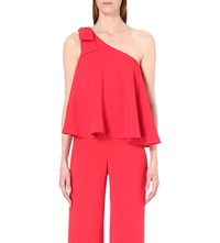 Saloni Cat One Shoulder Crepe Top Cherry Red