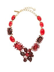 Oscar De La Renta Floral Crystal Embellished Necklace Red